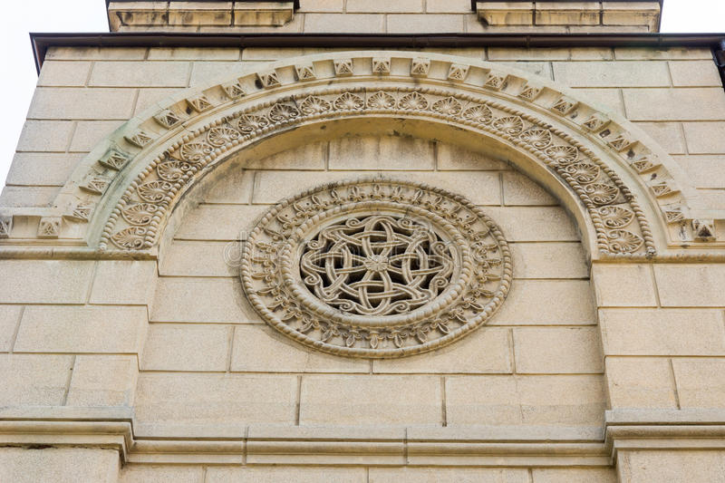 Stone pattern on St. Nicholas Cathedral in Leskovac, Serbia stock photos