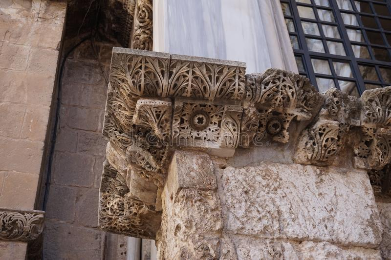 "Stone patterns on the walls of the old city in jerusalem. The stone, popularly called ""Jerusalem,"" is limestone. This widespread calcium carbonate royalty free stock images"