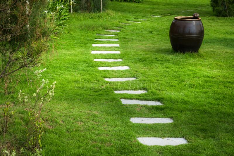 Stone paved path to the villa at tropical resort.  royalty free stock photos