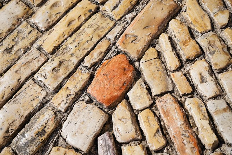 Stone pavement texture. Old cobble stoned pavement background. Details. Jerusalem, Israel royalty free stock photo