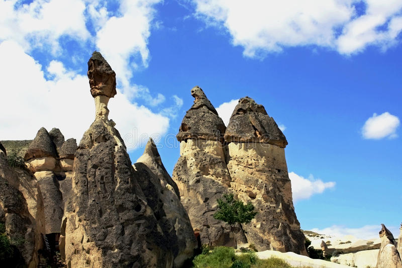 Stone pillars in Cappadocia royalty free stock image