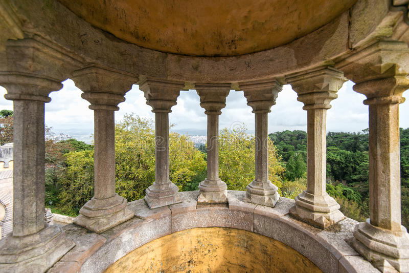Stone pillars of Pena National Palace, Portugal, Sintra royalty free stock images