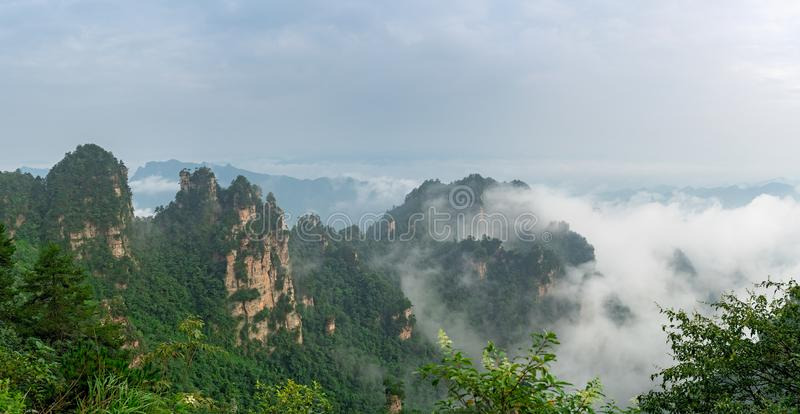 Stone pillars of Tianzi mountains in Zhangjiajie. National park which is a famous tourist attraction, Wulingyuan, Hunan Province, China royalty free stock photography