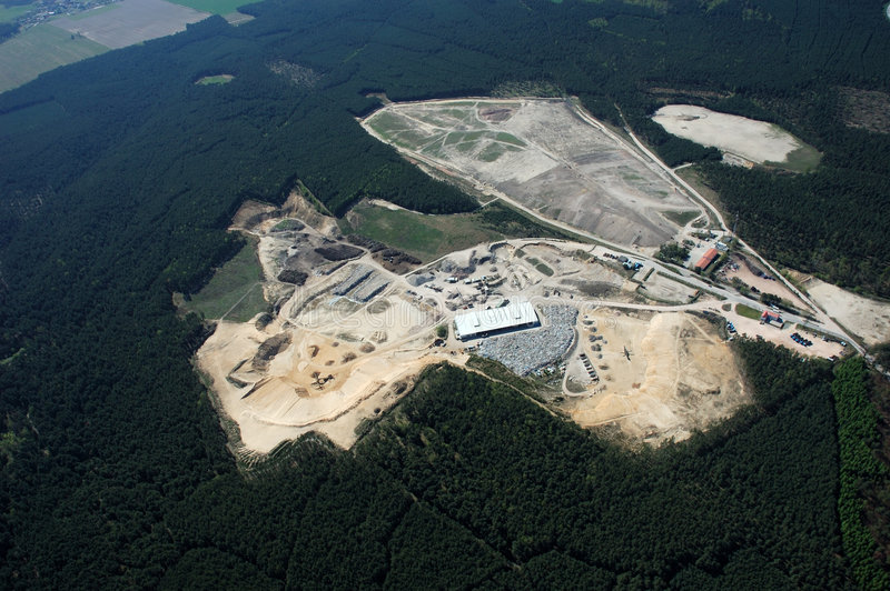 Stone pit. Aerial view of a stone pit royalty free stock photography