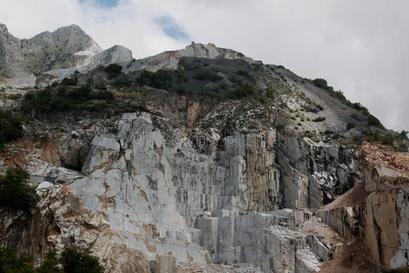Stone pit of Carara in Italy. The famous marble is from there stock images