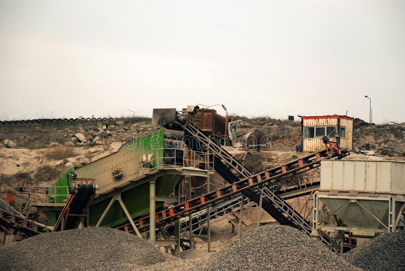 Stone pit quarry on a cloudy day. Close up view stock images