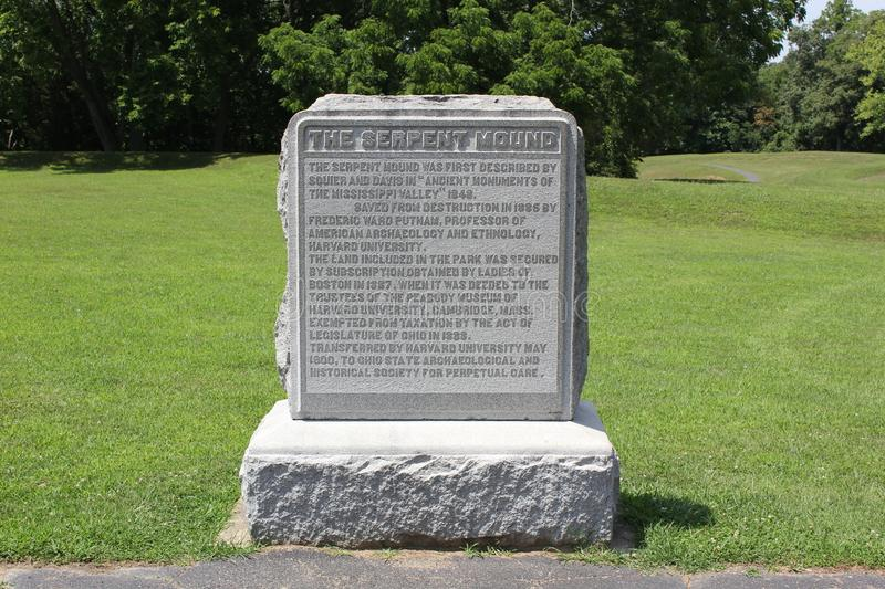 Stone Plaque, Serpent Mound. Of Ohio, United States. nThis Mound was built by the Fort Ancient culture around 1070 CE.nSerpent Mound is the largest serpent stock photos