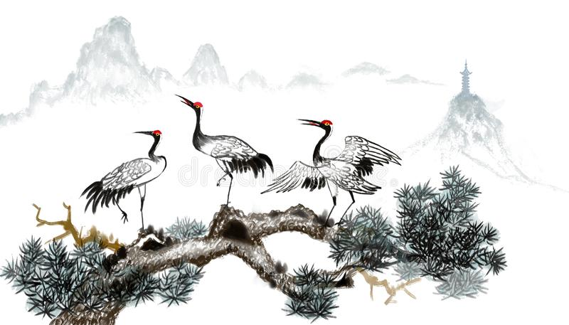 Pine crane year-end Chinese painting vector illustration