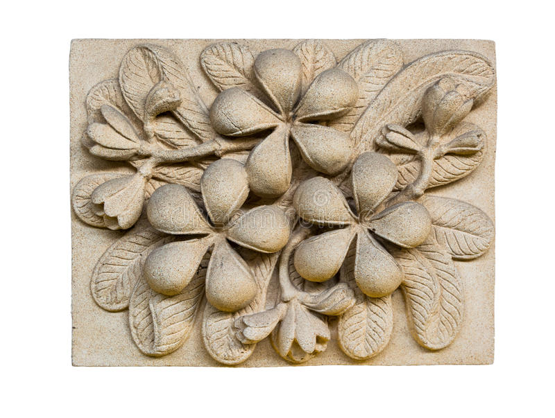 Stone Plumeria inscription. Ancient art royalty free stock image