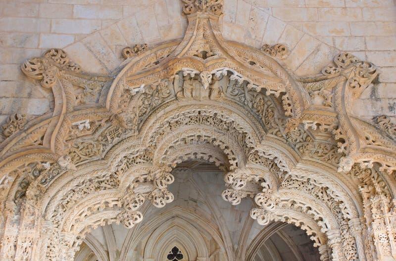 Stone portal Batalha. Stone portal in manuelino-style, Monastery of Batalha, Portugal stock photography