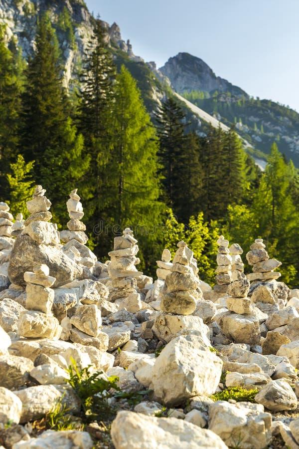 Stone pyramid in Triglav national park, Slovenia royalty free stock photography