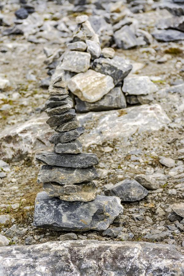 Stone pyramids built by tourists from pieces of marble in the mountain Park. Ruskeala stock photo