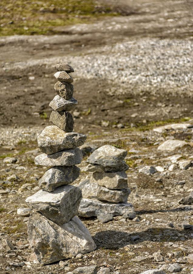 Stone pyramids built by tourists from pieces of marble in the mountain Park. Ruskeala royalty free stock photo
