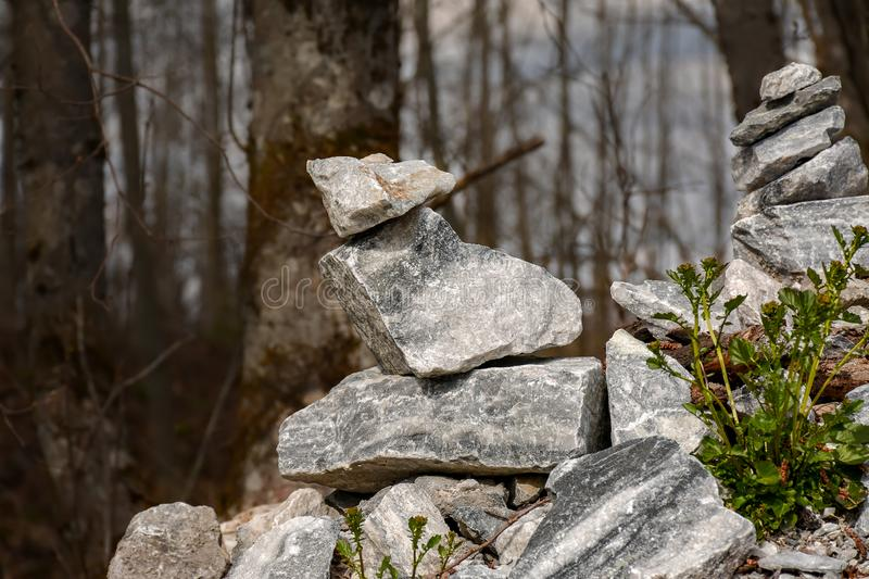 Stone pyramids built by tourists from pieces of marble in the mountain Park. Ruskeala royalty free stock images