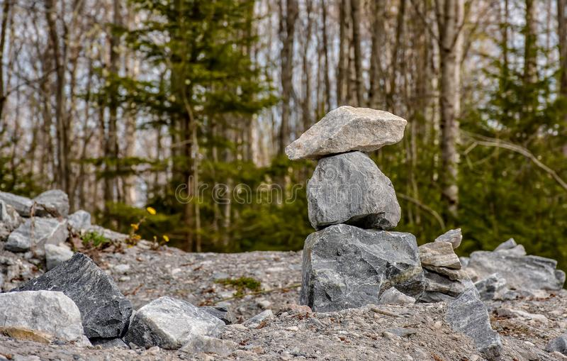 Stone pyramids built by tourists from pieces of marble in the mountain Park. Ruskeala stock image
