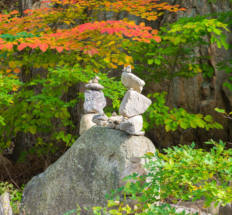 Stone pyramids at Sinheungsa Temple at the Seorak-san stock photo