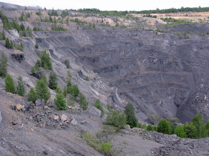 Stone quarry coal mining is carried out geodetic works royalty free stock photo