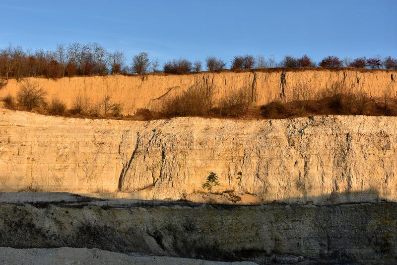 Stone quarry in Dobrogea land, Romania stock photography