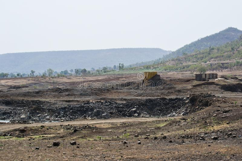 Stone quarry and Mining Site. At the hill side in the forest of central india stock image