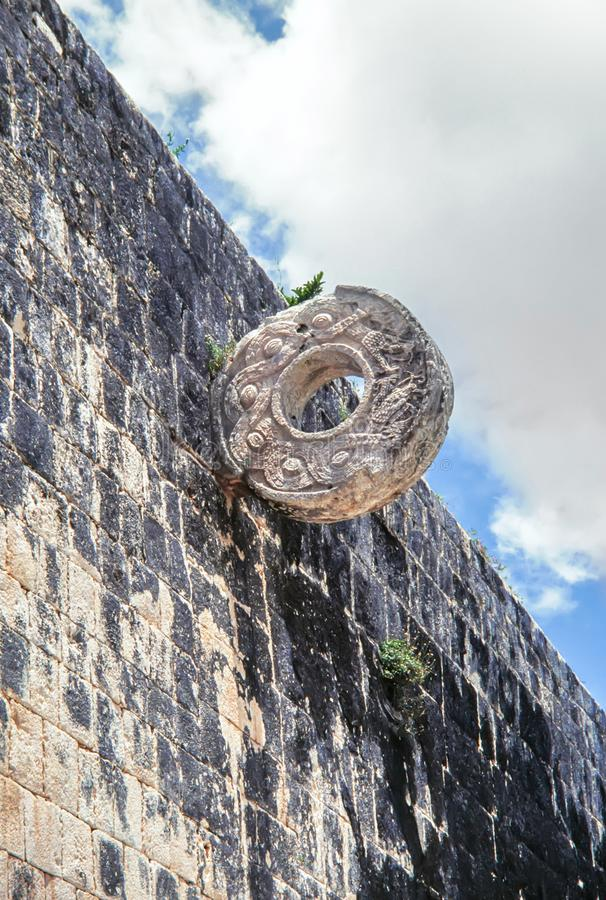Stone ring at the great ball game court. Chichen Itza, Mexico stock photo