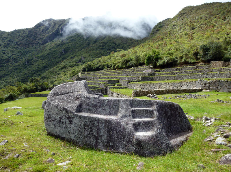 Stone for rituals and sacrifices in Machu Picchu. Stone for rituals and sacrifices in ancient Machu Picchu stock image