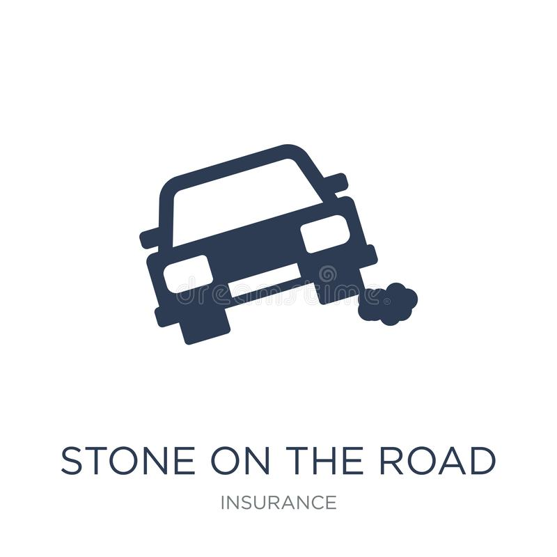 Stone on the road icon. Trendy flat vector Stone on the road icon on white background from Insurance collection. Vector illustration can be use for web and royalty free illustration
