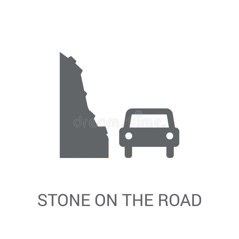 Stone on the road icon. Trendy Stone on the road logo concept on. White background from Insurance collection. Suitable for use on web apps, mobile apps and stock illustration