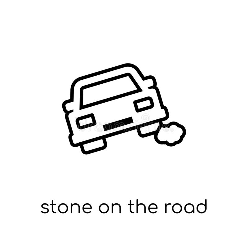 Stone on the road icon. Trendy modern flat linear vector Stone o. N the road icon on white background from thin line Insurance collection, editable outline royalty free illustration