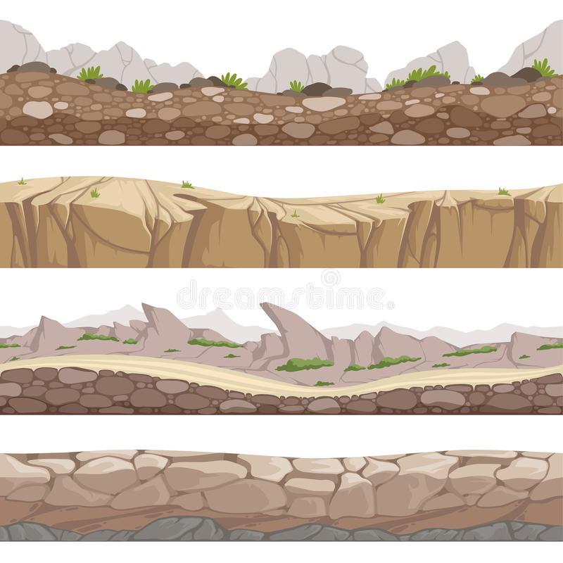 Stone road seamless. Rocky game backgrounds with various types of stones vector cartoon collection stock illustration