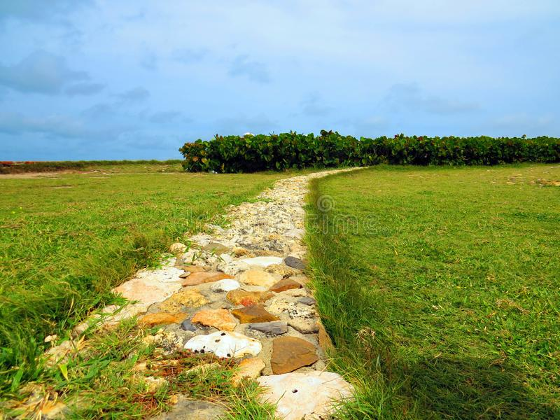 Stone road to the garden. In Barranquilla Colombia in sunny day stock image