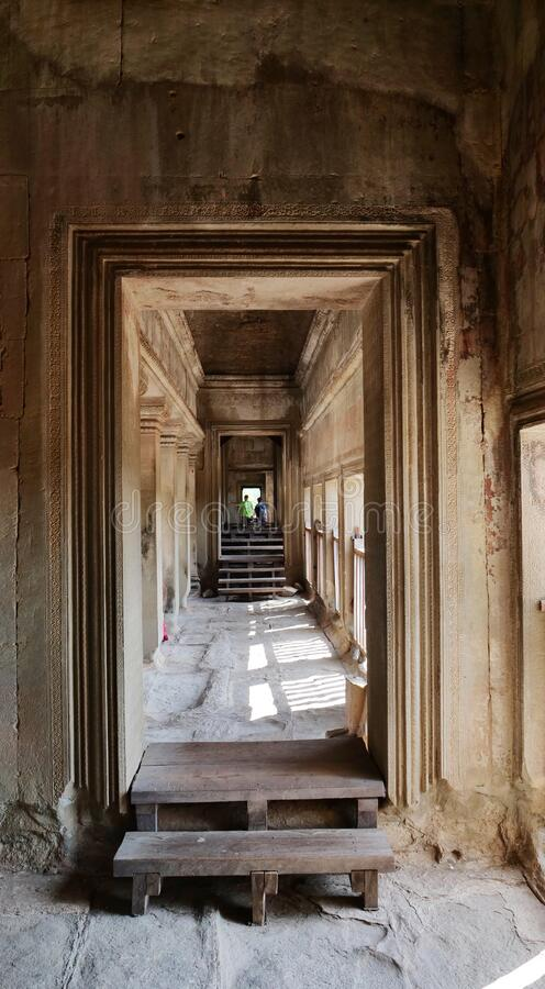 Stone rock corridor of ancient temple complex Angkor Wat in Siem Reap, Cambodia stock photography