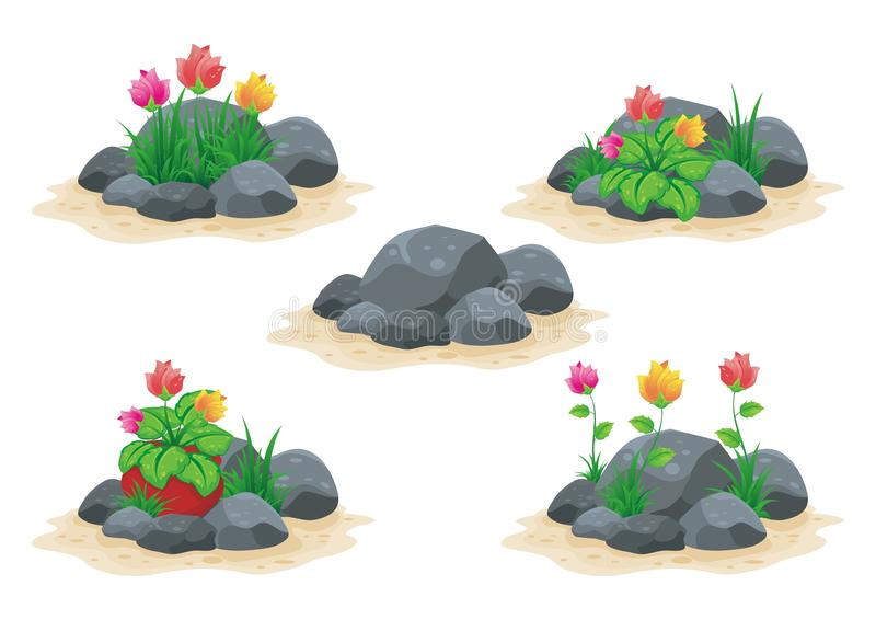 Stone / rock with flower vector collection vector illustration