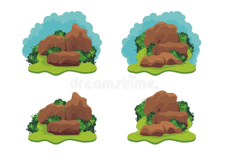 Stone - rock with grass stock illustration