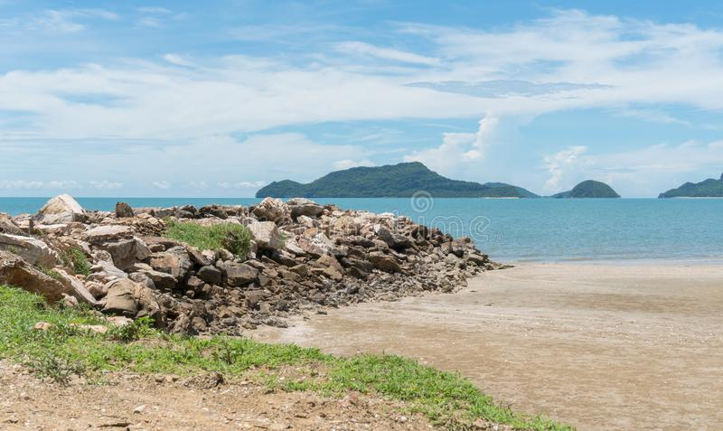 Stone or Rock Mound or Pile on Beach at Prachuap Khiri Khan Thai. Rock or stone mound or pile on the beach at Prachuap Khiri Khan Thailand. Beach and sea or royalty free stock images