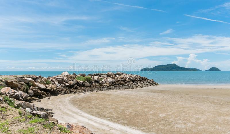 Stone or Rock Mound or Pile on Beach at Prachuap Khiri Khan Thai. Rock or stone mound or pile on the beach at Prachuap Khiri Khan Thailand. Beach and sea or stock photo