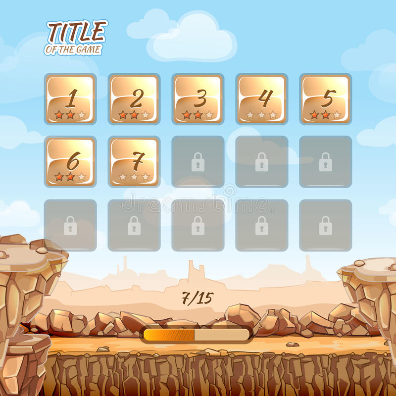 Stone and rocks desert game background royalty free illustration