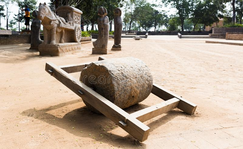 Stone Roller on the Sunning ground royalty free stock photography