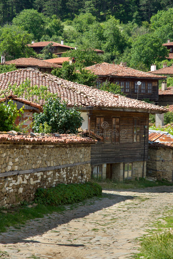 Stone, roof tiles and wood royalty free stock photos