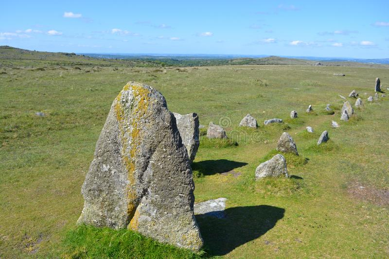 Prehistoric stone row,Dartmoor National Park, Devon, UK. Stone row, prehistoric antiquity associated with the Neolithic to Middle Bronze Age settlement site stock photo