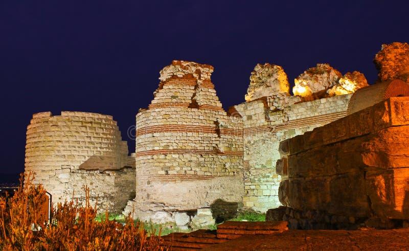 Stone ruins at night royalty free stock images
