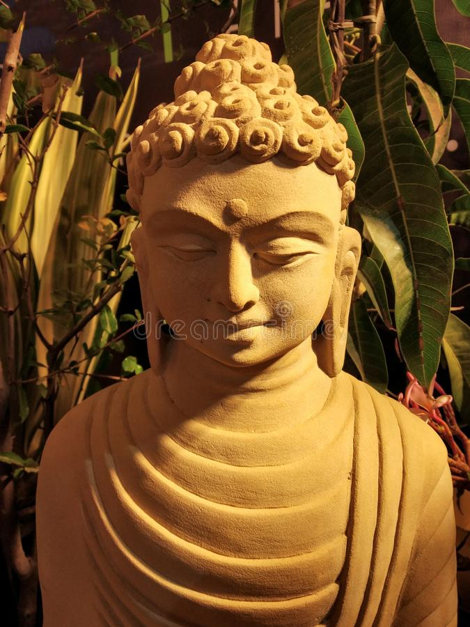 stone sculpture of lord buddha closed up royalty free stock photography