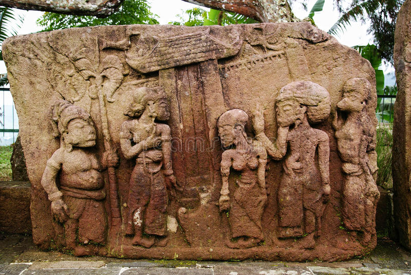 Stone sculpture and relief in Sukuh Temple. Central Java, Indonesia stock image
