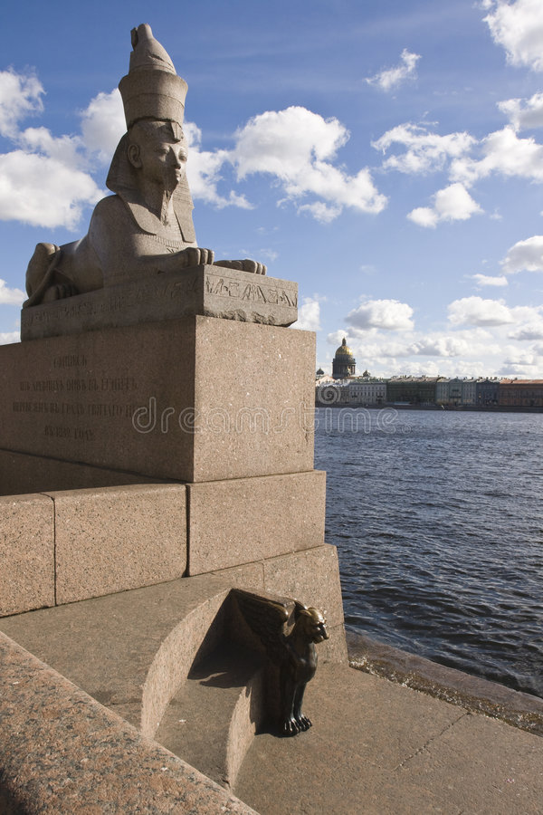 The stone sculpture of the sphinx stock photos