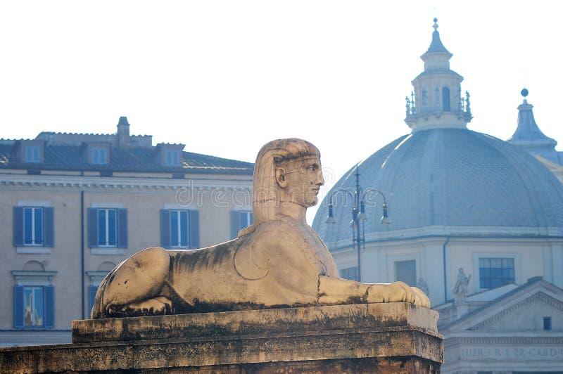 Stone sculpture of the Sphinx in the Plaza del Popolo in Rome stock photography