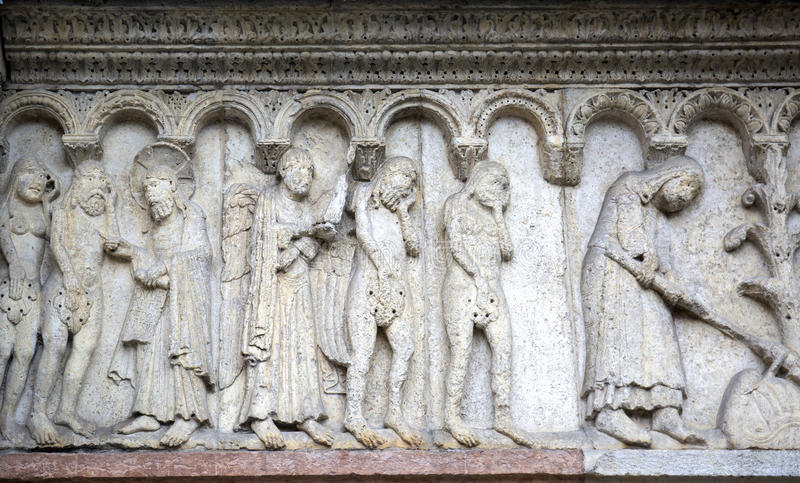 Stone sculptures on the exterior of the Cathedral in Modena (Italy).  royalty free stock photos