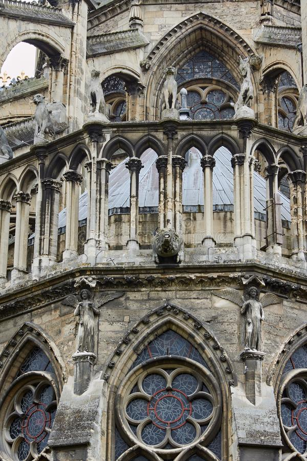 Stone sculptures on the facade of the cathedral Notre-Dame de Reims. France stock photos