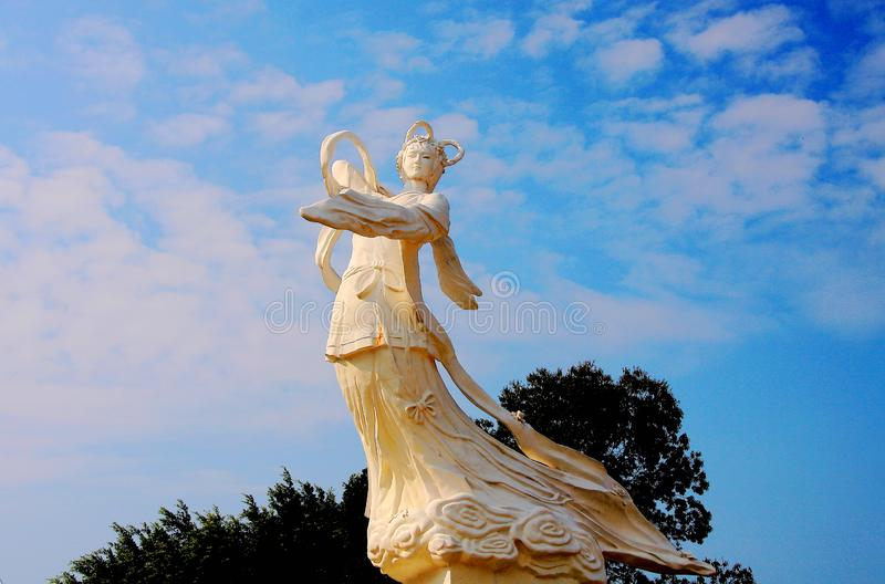 Stone sculptures of the goddess. The Xinfeng river reservoir, also known as Wanlu lake, is located in Dongyuan County, Heyuan City, Guangdong province.,China stock photos