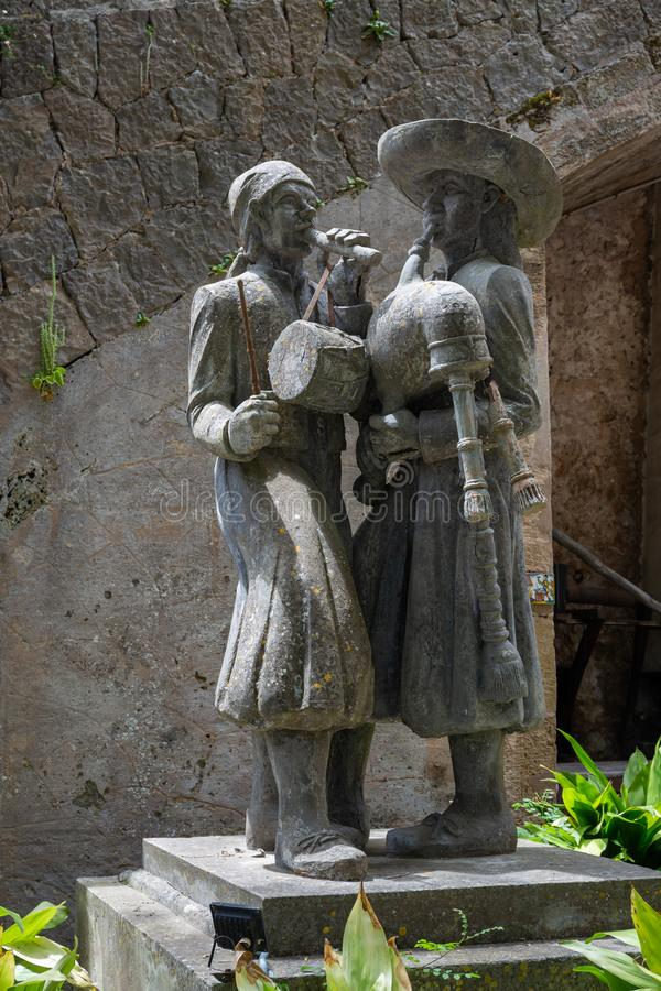 Stone sculptures in an old Spanish manor Granja. Mallorca, Spain - 28.05.2019: Stone sculptures in an old Spanish manor Granja stock photography