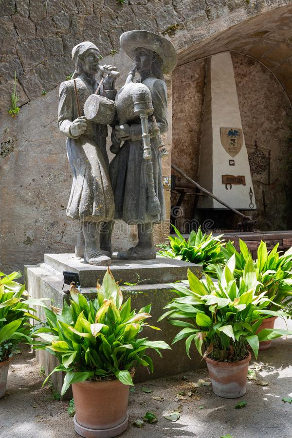 Stone sculptures in an old Spanish manor Granja. Mallorca, Spain - 28.05.2019: Stone sculptures in an old Spanish manor Granja royalty free stock photos