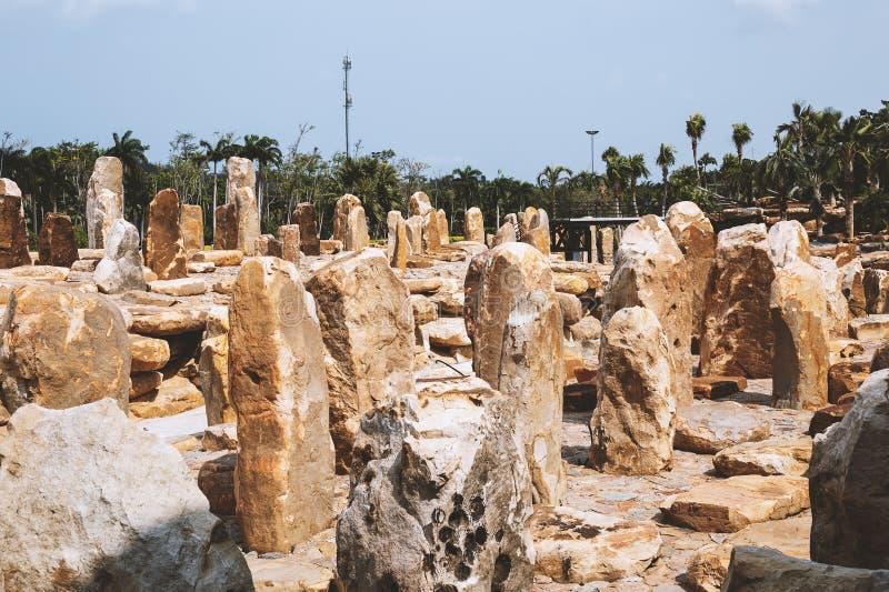 Stone sculptures in thai garden. Stone sculptures in thai botanical garden royalty free stock images